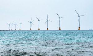 Groenbalans groene stroom, hernieuwbare energie of duurzame energie uit wind op zee