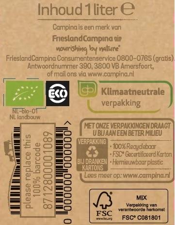 CO2-neutrale verpakking van biologische producten FrieslandCampina