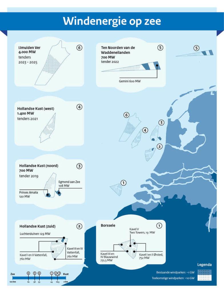 Groenbalans Kaart van Nederland met de plekken waar mogelijk windenergie op zee kan plaatsvinden.